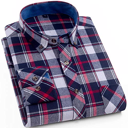 Herrenmode Plaid Karierte Gebürstete Flanellhemden Single Patch Pocket Slim-Fit Langarm Casual Button-Down Cotton Shirt 4XL Mg1