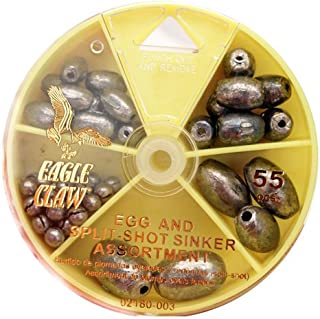 Eagle Claw Egg Sinker and Split-Shot Assortment, 55-Piece, Silver