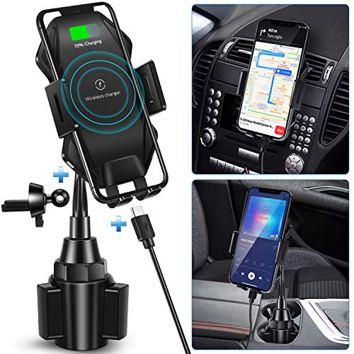 Wireless Car Charger Mount,15W Qi Fast Auto Clamping Cup Holder Phone Mount Wireless Charger, Air Vent Phone Holder Fast Charging Compatible iPhone 12/12Pro/11/11 Pro/XS/Max/X/8+/XR Samsung Note