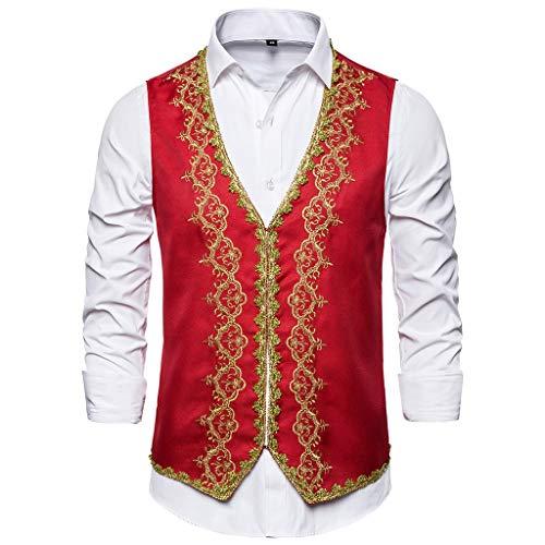 Yowablo Herren Anzug Weste Slim Fit Formelle Business Smoking Mantel für Hochzeit und Party (XXL,11Rot)