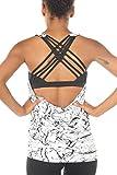 icyzone Damen Sport Tops mit Integriertem BH - 2 in 1 Yoga Gym Shirt Fitness Training Tanktop (S,...