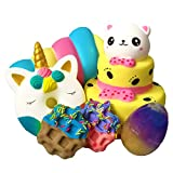 Jumbo Slow Rising Squishies [6-Pack]: Bear Cake, Marshmallow,Unicorn Dount,Waffles and Slime Egg.Comes in Mix.Soft Cute Sweet Squishy Toys.Wonderful Stress Relief Toys for Kids!