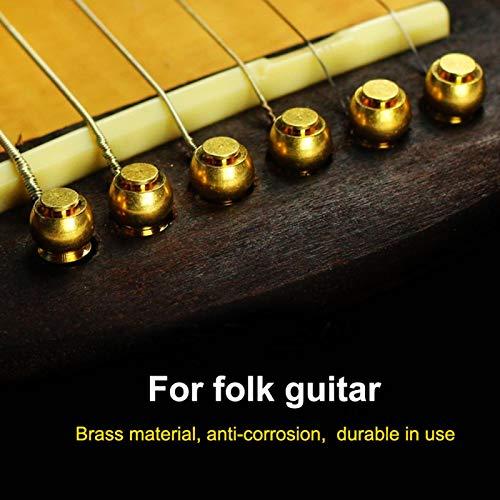 Pinos de ponte de melhor desempenho anticorrosão, pinos de ponte de bronze, 6 unidades/conjunto de instrumentos musicais Loja de instrumentos musicais para guitarras folk(Golden)