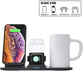 Mug Warmer, Coffee Warmer Wireless Charger, Constant Cup for Keeping Warm, 3 in 1 Wireless Charging Station Compatible With iPhone 11 Pro 8 Plus Xs Max Airpods Pro Apple Watch(charger not included)