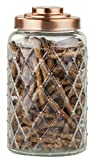 Home Basics Textured Glass Jar with Gleaming Air-Tight Copper Top, Kitchen Glassware Food Beverage Preserving Container, Clear (Large)