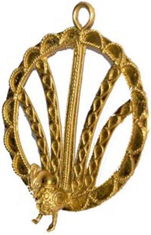 Overseas parallel import regular Award item IndianShelf Handmade 1 Piece Golden Brass Ho Dhokra Peacock Wall
