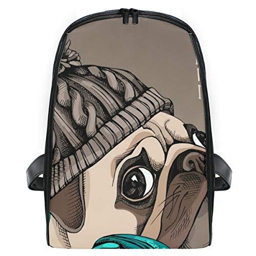 ELIENONO Porträt-Mops-Welpe gestrickter Hippie-Hut,Laptop Rucksack für Männer Schulrucksack Multifunktionsrucksack Mini Tagesrucksack für Schule Wandern Reisen Camping