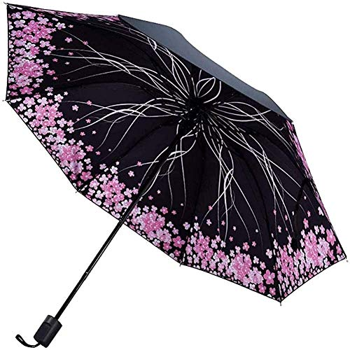 Paraguas portátil Paraguas impreso Tres veces plegable paraguas plegable compacto  Sunmabla Lluvia  Paraguas - Parasol al aire libre portátil ligero para todos (Color: G) Paraguas de viaje compacto