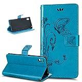 Funda Sony Xperia Z3+/Z3 Plus/Z3S/Z4,Mariposa La flor en relieve Cuero PU Fundas Carcasa Billetera Cartera Flip Stand con Concha Suave Carcasa Case Cover para Sony Xperia Z3+/Z3Plus/Z4/Z3S,Azul