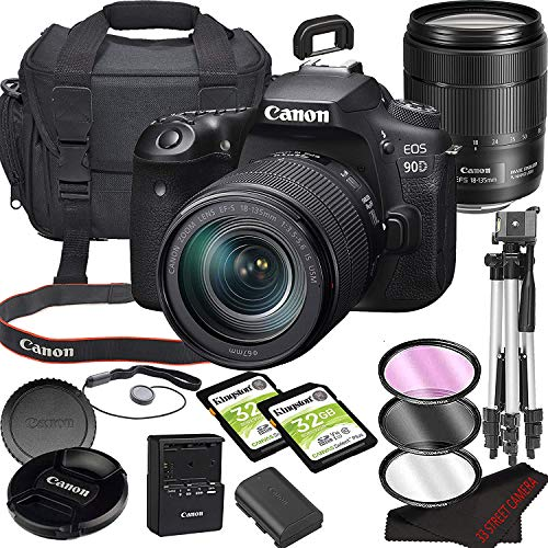 EOS 90D DSLR Camera Bundle with 18-135mm USM Lens | Built-in Wi-Fi|32.5 MP CMOS Sensor | |DIGIC 8 Image Processor and Full HD Videos + 64GB Memory(17pcs)