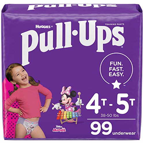 Pull-Ups Girls' Potty Training Pants Training Underwear Size 6, 4T-5T, 99 Ct, One Month Supply