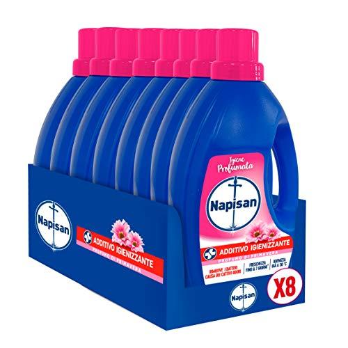 Napisan Additivo Igienizzante Lavatrice, Additivo Igienizzante Liquido Per Bucato, Profumo Di Primavera, 9.6 Litri, 8 Confezioni Da 1.2 Litri