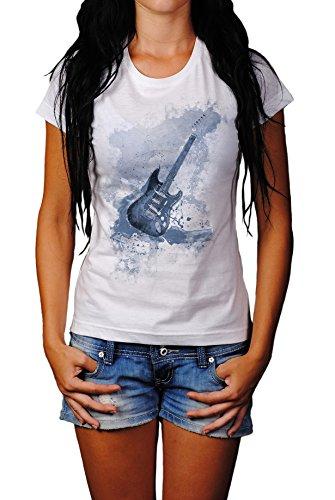 E-Gitarre Lady T- Shirt, Stylisch aus Paul Sinus Aquarell Cyan Style