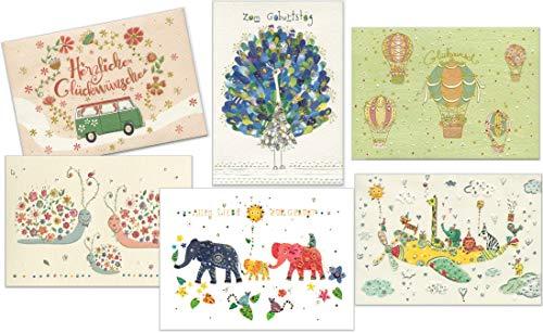 Set aus 6 Glückwunschkarten zum Geburtstag und zur Geburt eines Baby - hochwertige Grußkarten von Turnowsky (3x Baby und 3x Geburtstag)