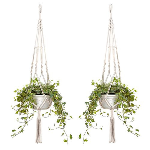 2er Set Makramee Blumenampel Baumwollseil Hängeampel Blumentopf Pflanzen Halter Aufhänger für Innen Außen Decken Balkone Wanddekoration - 105cm / 41 Zoll, 4 Beine (2 Stück)