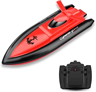 Remote Control Boat for Kids/Adults,15+mph High Speed Electronic RC Racing Boat for Pools and Lakes- Red(The Motor and Paddle Only Works in Water)