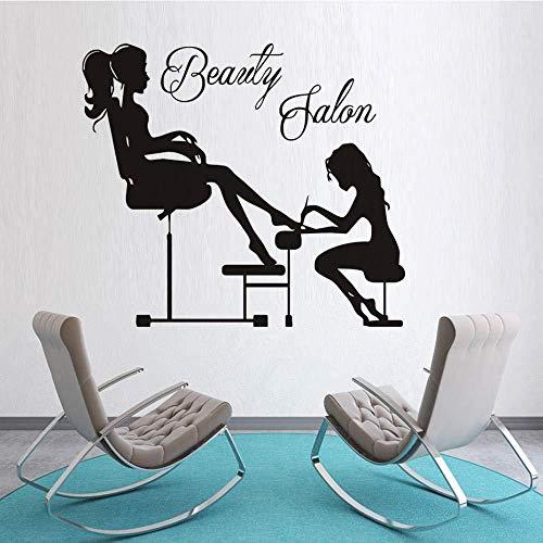 Salone di bellezza Manicure Estetista Manicure Ragazza Adesivo per unghie dell'unghia del piede Rimovibile DIY Decalcomania della parete PVC Home Shop Decor 50x42 cm