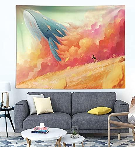 KHKJ Decoración para el hogar Impresión de Ballenas Tapices para Colgar en la Pared Estera de Yoga Manta Decoración de habitación estética Decoración Mural Decoración de habitación Linda A7 200x180cm