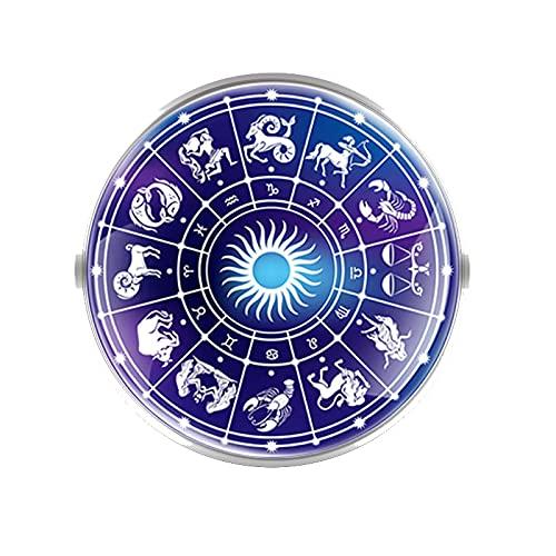 CLEARNICE Doce Constelaciones Diseño De Escorpio Broches Decoración Collar Pin Cúpula Convexa De Cristal Accesorios De Moda Regalo