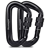 Locking Carabiner Clips,12KN/2697lbs Heavy Duty Carabiners for Hammocks, locking dogs, camping, hiking, yoga swing, hanging heavy object, Twist lock desigh, Sturdy & Lightweight. 2 pack (Black)