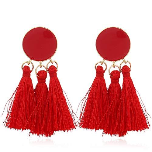Pendientes con borla YAZILIND Pendientes colgantes con flecos de hilo bohemio Pendientes largos (rojos)
