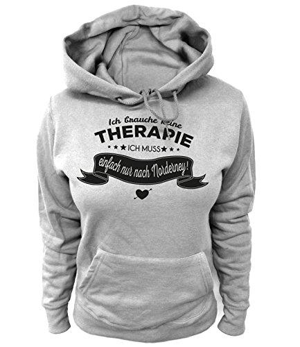 Artdiktat Damen Hoodie - Ich Brauche Keine Therapie - Ich muss einfach nur nach Norderney Größe M, grau