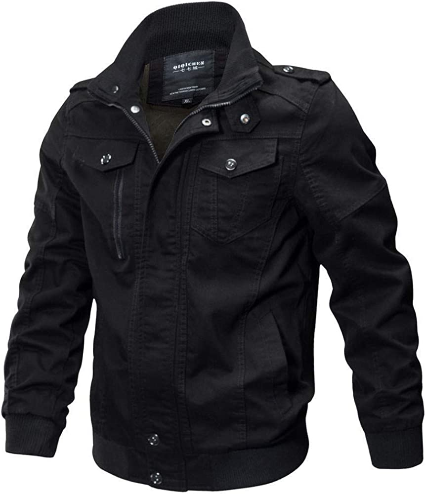 Berrykey Casual Men's Autumn Jacket Solid Casual Long Sleeve Military Tactical Coat Outwear