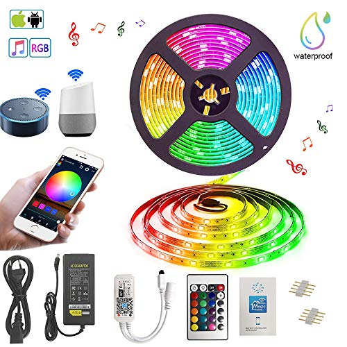 Tira de luz LED resistente al agua IP 65 LED funciona con Alexa, Google Home, IFTTT, WiFi Wireless Smart Phone Controlado tira LED 5 m RGB LED banda de luz Full Kit