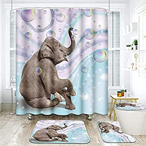 "ArtSocket 4 Pcs Shower Curtain Set Summer Elephant Bubble Pink Bright Retro with Non-Slip Rugs Toilet Lid Cover and Bath Mat Bathroom Decor Set 72"" x 72"""