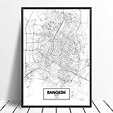 Leinwanddruck,Bangkok Schwarz Weiß Benutzerdefinierte Welt