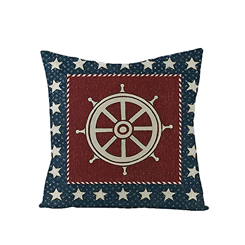 WXM Independence Day Pillow Cover, 4th of July Cushion Case, American Flag Pillow Shams, Patriotic GNOME Linen Throw Pillow Text & Truck Pillow Cases for,Living Room,Couch,Bedroom Decor (18'&18') (V)