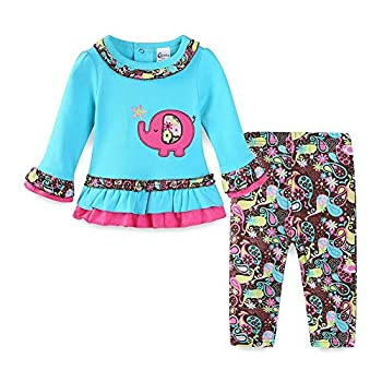 LittleSpring Baby Girl Clothes Elephant Long Sleeve Top and Flower Pants Set 6-9 Months