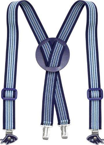 Playshoes Hosenträger Hai Gestreift Bretelles, Bleu (Hellblau/Marine), 75 (Taille fabricant: 60 centimeters) Mixte Enfant