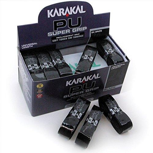 Karakal, Griffband / Griff-Tape, selbstklebend, für Badminton / Squash / Tennis / Hockey / Curling, Polyurethan, ausgezeichnete Griffigkeit, Schwarz , 6 Stück