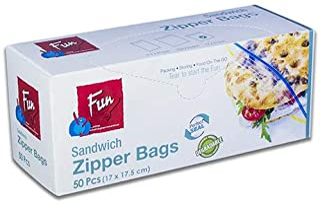 Fun® Indispensable Biodegradable Sandwich Zipper Bags - 17 x 17.5 cms - Pack of 50