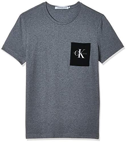 Calvin Klein Monogram Pocket Slim Tee T-Shirt, Mid Grey Heather/Black, S Uomo
