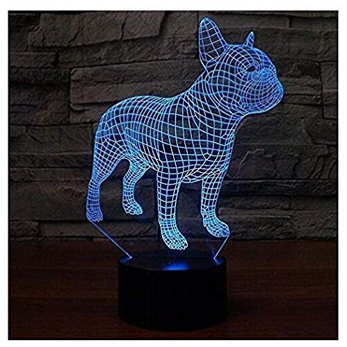 SUPERIORVZND 3D French Bulldog Dog Night Light Touch Table Desk Optical Illusion Lamps 7 Color Changing Lights Home Decoration Xmas Birthday Christmas Gift