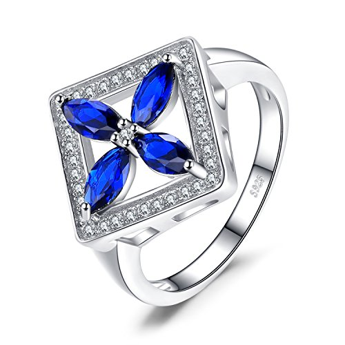 JewelryPalace Classic Flower 4.5ct Erstellt Blue Spinel Cocktail Ring 925 Sterling Silber