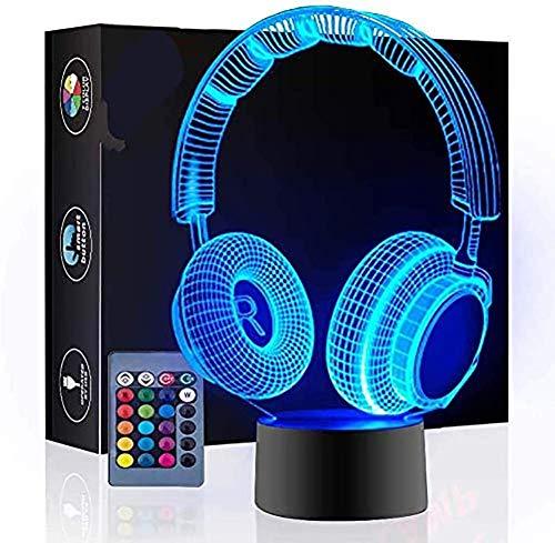 Auriculares Lámpara de ilusión 3D Luz nocturna, 16 colores Interruptor táctil de cambio automático Lámparas de decoración de escritorio Regalo de cumpleaños con control remoto