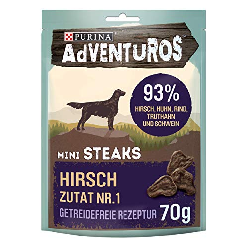 PURINA AdVENTuROS Mini Steaks Hundeleckerli getreidefrei, Hundesnack reich an Hirsch, 7er Pack (7 x 70g)