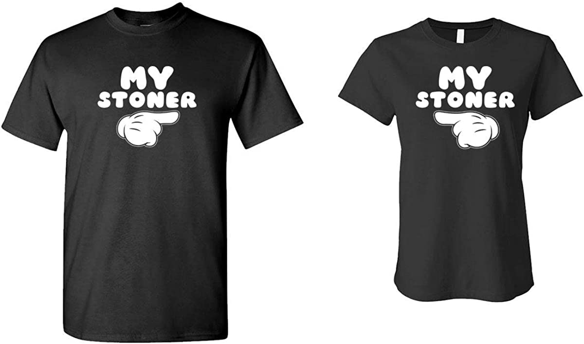 The Goozler My Stoner - Weed Pot - HIS & HER T-Shirt Combo, SML Left, 2XL Right, Black