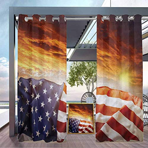 crabee American Flag Outdoor Sheer Curtain Balcony, Deck Curtains Flag in Front of Sunset Sky with Horizon Light America Union Idyllic Photo Multicolor