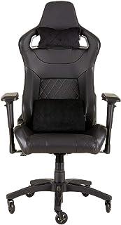 Corsair T1 Race Silla de Oficina, para Videojuegos, Polipiel, fácil de ensamblar, giratoria ergonómica, Altura Ajustable y reposabrazos 4D, Asiento cómodo y reclinable, Negro