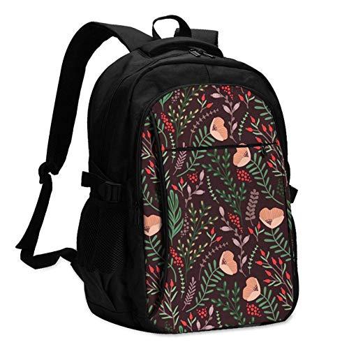 XCNGG Mochila USB con múltiples Bolsillos, Mochila Informal, Mochila Escolar Floral Travel Laptop Backpack with USB Charging Port Multifunction Work School Bag
