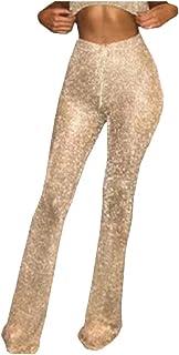DressU Women's Casual Sexy Sequin Glitter Solid Highwaist Leg Pants