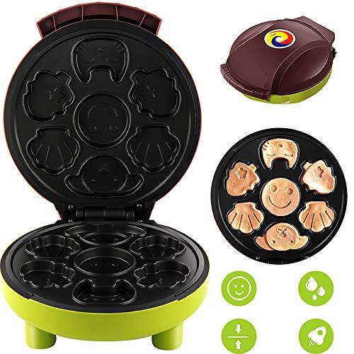 Gofres Maquina, Waffle Maker Mini, Maquina De Hacer Muffins Cupcakes De Dibujos Animados EléCtrica, 1000W, MáQuina De Desayuno,Green