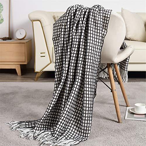 Manta de tiro de punto, cuadrícula blanca negra liviana lanza las mantas, manta de tiro de punto suave para sofá sofá