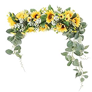 RTWAY Artificial Sunflower Swag, Decorative Flower Swag with Green Leaves, Wedding Arch Decor Fake Floral Wreath, Sunflower Swag Garland for Home Front Door Wall Decor