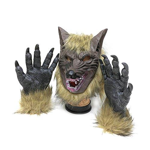 Tinksky Maschera di lattice maschera e le zampe di lupo maschera piena viso Maschera pazza maschera di Halloween Maschera di Halloween per notte di horror di halloween