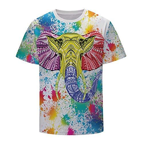 Camiseta,Arte Colorido Elefante Juego Hombres Personalidad Unisex Moda Primavera Y Verano Top Cómodo 3D Manga Corta Top Color Mixing S